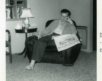 "Vintage Photo ""Sadden by the Flood"" Snapshot Antique Photo Old Black & White Photograph Found Paper Ephemera Vernacular - 138"