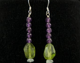 Purple Amethyst Earrings with Green Peridot and Light Blue Aquamarine Beads, Purple and Green Earrings, Dangle Beaded Earrings, Gift for Her