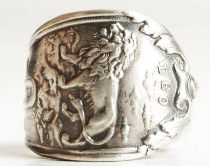 Leo Ring, Sterling Silver Spoon Ring, Leo Zodiac Ring, Handmade Gift, Ring Size 5.5, Silver Lion Ring, Astrology Ring, Horoscope Ring 6774
