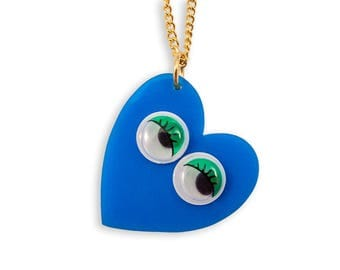 Googly Eyes Blue Heart Necklace - Google Retro Funny Cute Kawaii Green Perspex Acrylic Laser Cut Pendant Rad Bold Kitschy