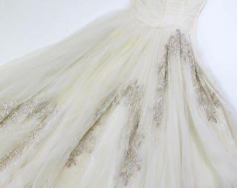 1940s KIVIETTE Debutante White Sequin Strapless Dress