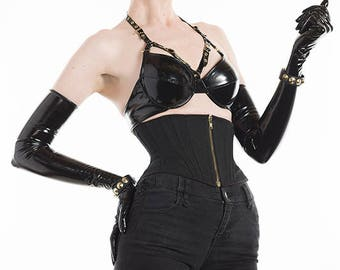PVC Harness Gold Buckle Bra - (Artifice photoshoot sample)