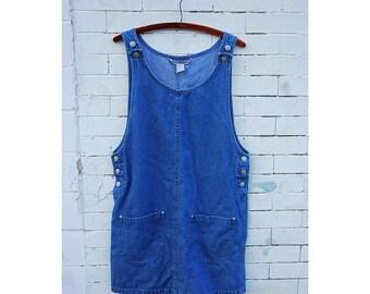 Vintage 90s Minimalist Denim Jean Jumper Dress- Size Medium