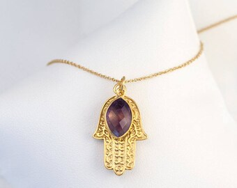 Christmas Gift for Her, Gold Hamsa Hand Birthstone Necklace, Purple Amethyst Necklace, February Birthstone Necklace, Good Luck Hand Necklace