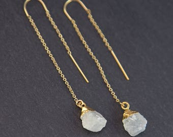 Moonstone Drop Earring, Minimalist Threader Earrings, Bridesmaid Gift, June Birthstone Ear Threaders, Raw Crystal Earrings, Modern Bridal