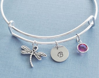 Dragonfly Bracelet, Silver Bangle,Charm Bracelet,Insect Jewelry,Personalized,Stamped,Expandable,Birthstone Bracelet,BFF Friend,Birthday Gift