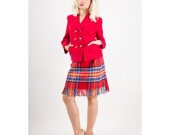Vintage Moschino Cheap and Chic / 1990s red wool thimble blazer / Double breasted fitted blazer S M