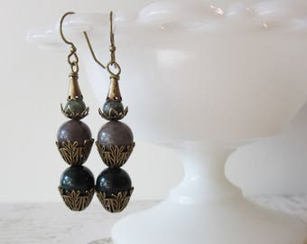 Art Deco Agate Earrings // Gemstone & Brass Stacked Dangles