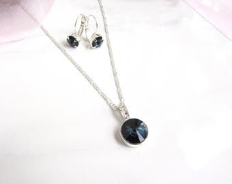 Navy Blue Necklace and Earring Set, Navy Blue Necklace Set, Navy Blue Necklace Bridesmaid, Dark Blue Necklace, Navy Blue Jewelry, Dark Blue