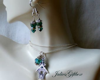 """Bird House Necklace & Green Crystal Earring Set-19""""+2"""" Ext. SP Snake Chain-Ready to Ship Free US Domestic"""