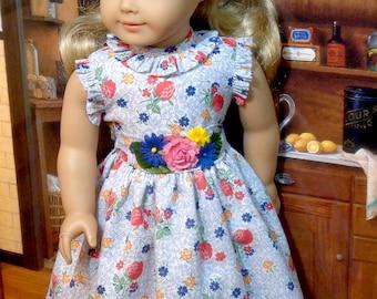 Strawberry Print Summer Dress for 18 inch Girls