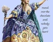 Chocolate. Cocoa. Candy. Marie Antoinette. High Hair. Opera. Costume. Funny Card. Funny Postcard. Gift for her. Blue dress. Free Shipping.
