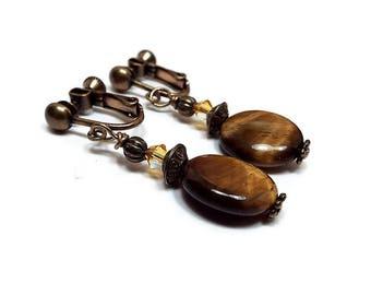 Boho Tigers Eye Gemstone Drop Clip on Earrings Brown Yellow Beaded Womens Antiqued Brass Screw Back
