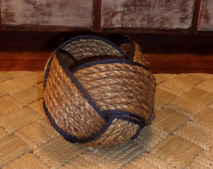 "Rope Basket Bowl 6"" x 8"" Natural and Navy Rope Woven Tightly Kotted Nautical Decor"
