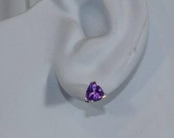 Purple Trillion Sapphire Earrings.