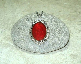 Ruby Red Cameo Necklace Handpainted Pendant Antique Silver
