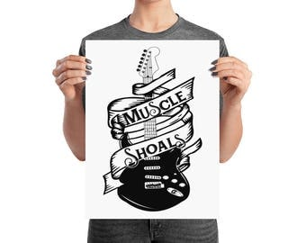 Muscle Shoals Poster Alabama Vintage Guitar 12x16 Inch Print