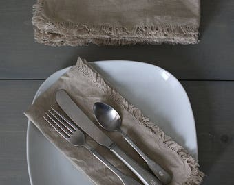 Linen Cloth Napkins, Neutral Linen Napkins, Picnic Napkins, Rustic Linen Napkins, Eco-Friendly Reusable Napkins, Set of Six, Paper Free
