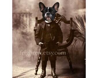 French Bulldog Art, Animals in Clothes, 5x7 Print, 8x10 Print, Anthropomorphic Dog in Suit, Victorian Dog Portrait