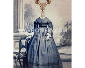 Animal in Clothes Gazelle Art Print, 5x7 Inch Wall Decor, Anthropomorhic Deer in Dress Mixed Media Collage Art, frighten