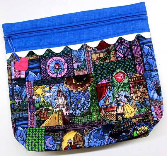MORE2LUV Stained Glass Beauty and Beast Cross Stitch Embroidery Project Bag