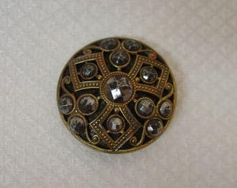 Antique Button Brass with Cut Steel Decoration, Excellent