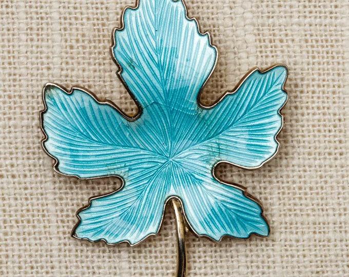 Turquoise Maple Leaf Brooch Vintage Gold Novelty Broach Vtg Pin 7T