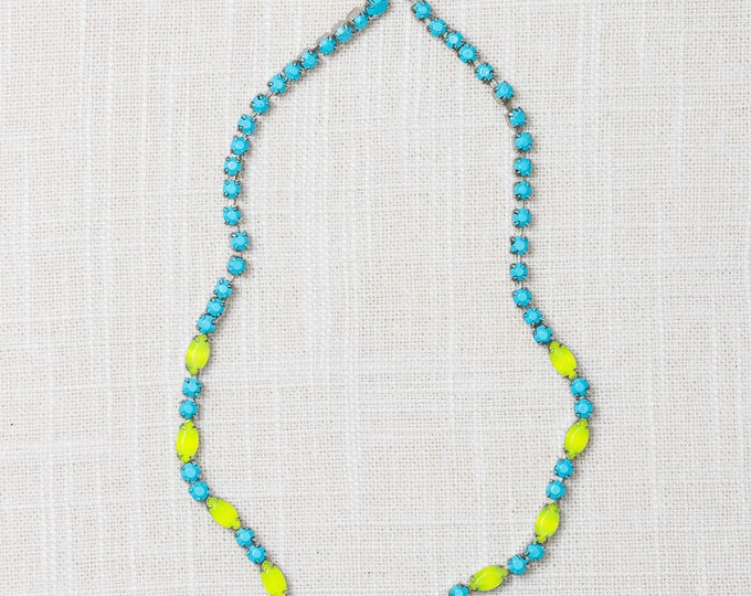 Handcrafted Necklace Turquoise and Lime Green Hand Painted Ombre Rhinestone Colorful 7HH