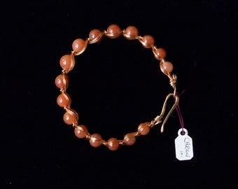 Carnelian wire woven bracelet