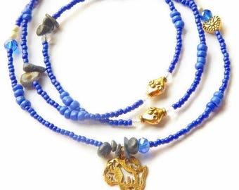 Raw Sapphire Waist Beads, Blue Africa Waist Beads, Sapphire Belly Chain, Africa Waistbeads, Blue Africa Belly Beads