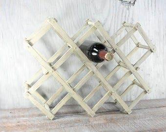 Painted, Distressed folding wine rack, wood wine rack, rustic wine rack, accordion style,  upcycled