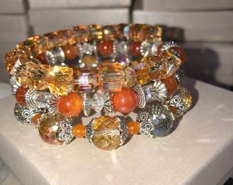 Hand-crafted Orange, Beige memory wire Bracelet