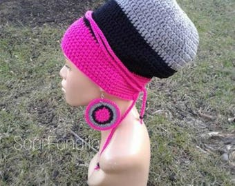 MADE TO ORDER Pink Black and Grey Slouch Hat/ Dreadlock Hat/ Slouchy Beanie/ Tam with drawstring and free crochet earrings/ adjustable