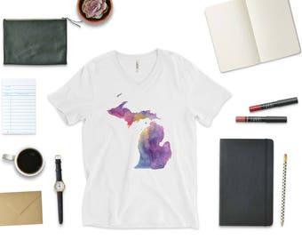Wanderlust Tee, Michigan Tee, Michigan T-Shirt, Michigan Shirt, Michigan Watercolor, Michigan Map, Unique Michigan Tee, Michigander Gift