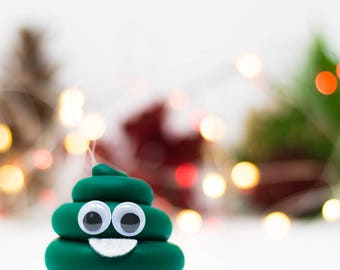 Cute Green Poop Emoji Ornament - Hand Painted in USA