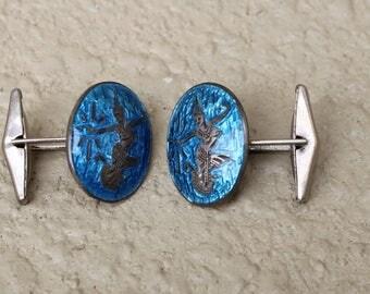 Blue Nielloware Siam Sterling Silver Signed BK Dancer Vintage