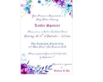 Enchanted Garden Baby Shower / Wedding Invitation - Enchanted Forest Invitation - Fairy Invitation