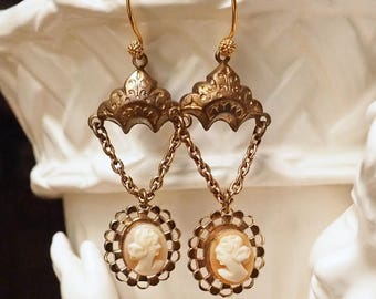Me & Mine- Vintage Assemblage Cameo Earrings- Antique Gold Ox- Drop, Chandelier Style- One of a Kind