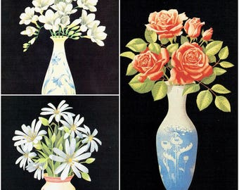 Set Of 3 David Jackson Floral Vase Vintage Post Cards Postcards Rosa Pinkus Freesia Caryophyllaceae Flowers Black Background Athena