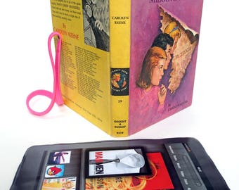 Hide your tablet in vintage Nancy Drew book with purple pink cover, psychedelic lining, Fits Kindle Fire, Paperwhite, HD6, Galaxy Tab, Nook