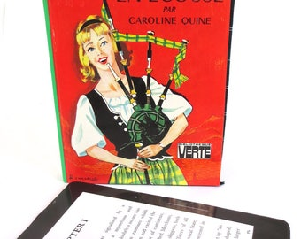 Kindle Case Made from French Version of Nancy Drew Book, Bagpipes on Front, Green Black Plaid Lining, Fits Kindle Paperwhite,  Voyage, HD6