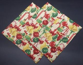 Christmas Tree Ornaments, Christmas Dinner Napkins, Holiday Napkins, Hostess Gift, Christmas Gift, Christmas Wedding Gift