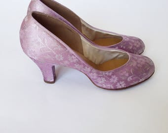1940's Lilac Satin and Silver Brocade Heels
