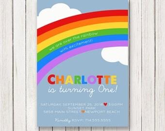 Rainbow Birthday Invitation   Rainbow Invitations   Rainbow Party Invite   First Second Birthday   Heart   Girls Birthday   Digital