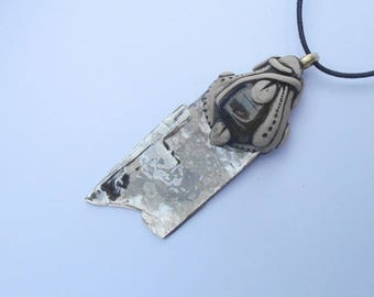 Mica Pendant with Tourmaline / Silver Mica / shimmery silver / mica / jewelry / tribal mica amulet / specimen / khayanite / TRANSFORMATION