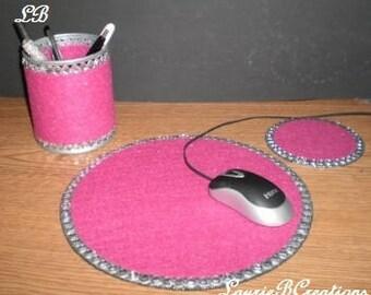 PINK & BLING Computer Desk Set - Fuschia pink w/clear rhinestones
