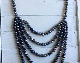 Black Pearl Multi Strand Necklace