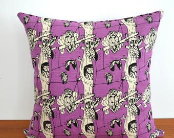 "Owls in Trees Throw Pillow Cover 16"" x 16"""