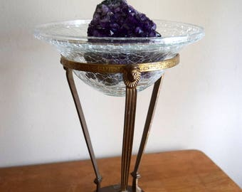 Gold Vintage Gold Stand & Bowl w/Lion Head ~ Hollywood Regency, Boho, Mystical,