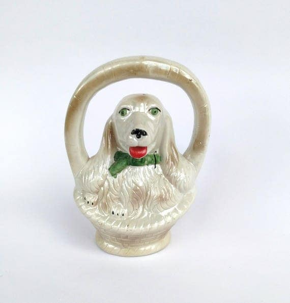 Vintage 1960's Dog in Basket Ceramic Figurine Kitschy Cute